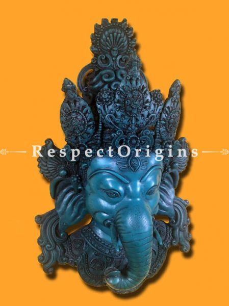 Buy Wall Mask; Wall Art; Handcrafted Blue Lord Ganesha; Marble; Size 10x5x16 in At RespectOrigins.com