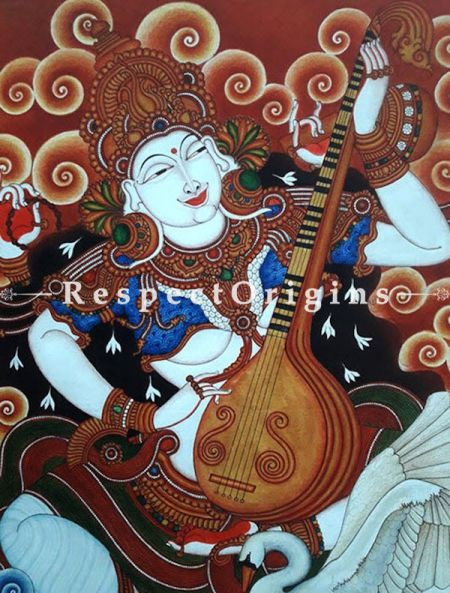 Buy Goddess Saraswati- Kerala Mural Art On Canvas 35X41|RespectOrigins