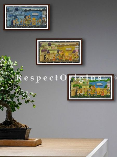 Buy Set of 3 Miniature Paintings of King's Procession On Silk; 5X7 inches; Horizontal; Traditional Rajasthani Wall Art at RespectOrigins.com
