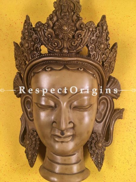 Buy Wall Mask; Wall Art; Handcrafted Joyful Goddess Tara; Marble; Beige; Size 9x5x15 in At RespectOrigins.com