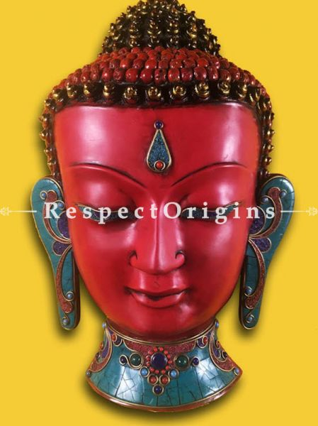 Buy Wall Mask; Wall Art; Handcrafted Resentful Lord Buddha; Marble; Red Base and multi color engraved stones Size 10x5x14 in At RespectOrigins.com