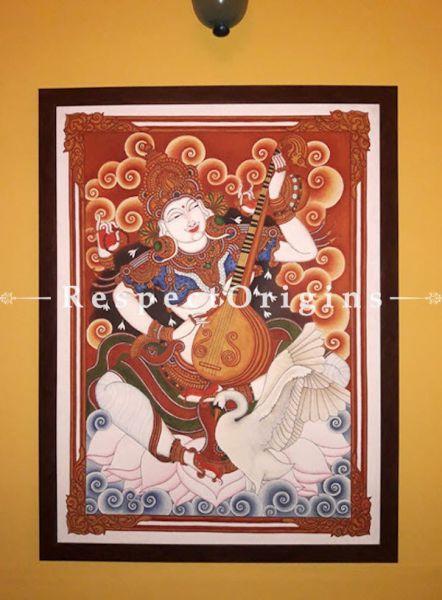 Goddess Saraswati- Kerala Mural Art Painting On Canvas 35x41