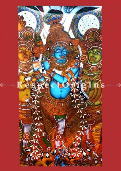 Krishna Leela Large; Kerala Mural Art or Painting on canvas; 32x45 in; Chuvarchithram