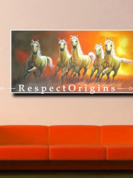 5 Good Luck Horses Rajmer01 Painting Acrylic Colors on Canvas 48in x 24in |Buy 5 Good Luck Horses Rajmer01 Painting Acrylic Colors on Canvas 48in x 24in  Online|RespectOrigins