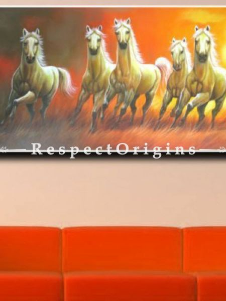 Good Luck Horses; Painting Acrylic Colors On Canvas 48In x 24In