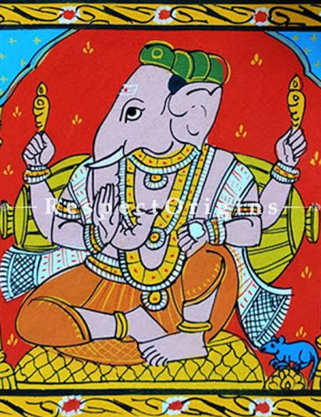 Painted Scrolls of Cheriyal; Lord Ganesha; Folk Art Square Painting in 8x8 in; Traditional Painting on Canvas
