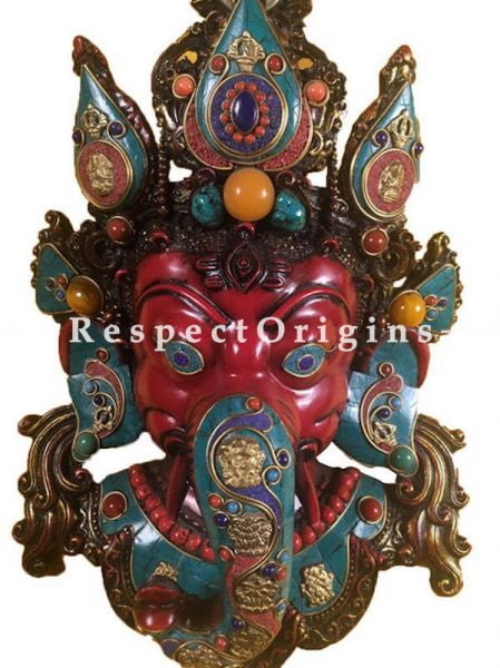 Buy Wall Mask; Wall Art; Handcrafted Graceful Lord Ganesha; Marble; Red Base and multi color engraved stones Size 10x5x16 in At RespectOrigins.com