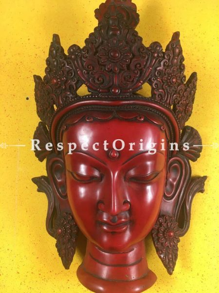 Buy Goddess Tara Wall Mask; Wall Art; Handcrafted; Marble; Red; Size 9x5x15 in At RespectOrigins.com