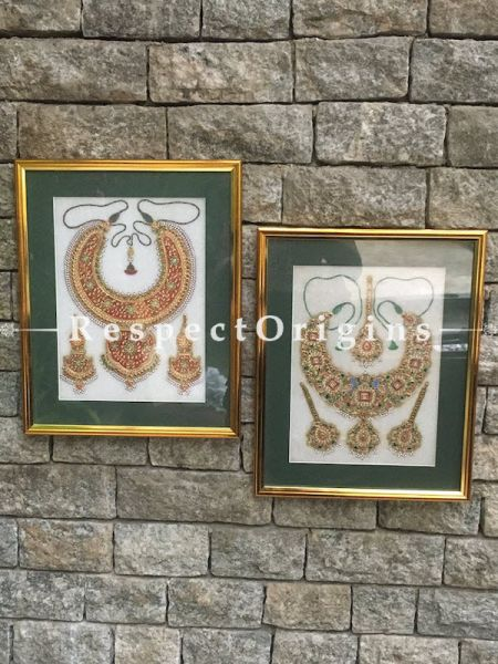 Buy Set of 2 Miniature Paintings of Traditional indian Jewelry Sets On Marble 9X12 inches; Vertical; Rajasthani Wall Art at RespectOrigins.com