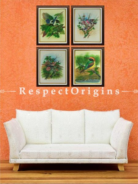 Buy Set of 4 Traditional Miniature Bird Paintings On Silk; 10X14 inches ; Vertical; Rajasthani Wall Art at RespectOrigins.com