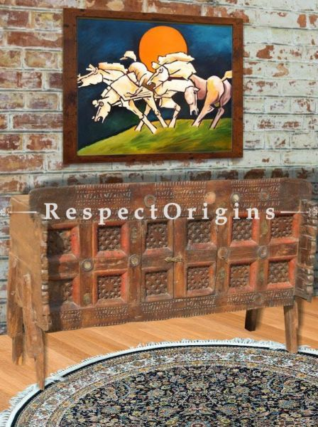 M.F Hussain Reproduction 4 White Horses Series Acrylic on Canvas Modern Art Painting: 32x24 in