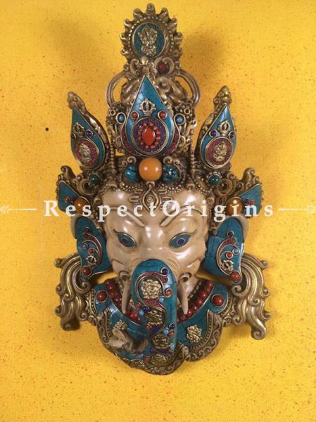Buy Wall Mask; Wall Art; Handcrafted Multi-color Lord Ganesha; Marble; Beige Base and multi color engraved stones Size 10x5x15 in At RespectOrigins.com
