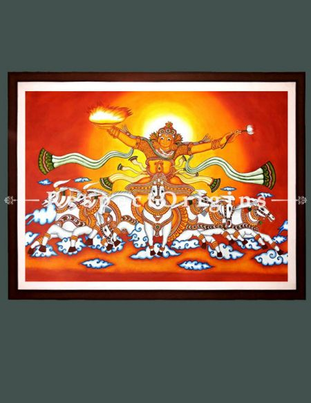 Lord Surya- Sun God- Painting Kerala Mural Art 42x60; Horizontal Canvas painting