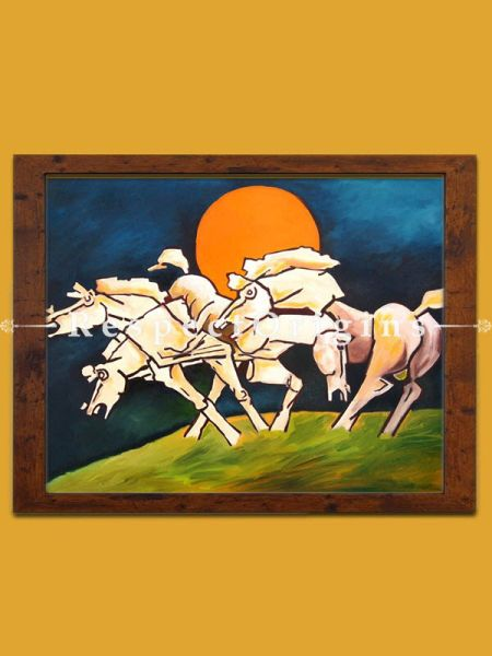 M.F Hussain Reproduction 4 White Horses Series Acrylic on Canvas: 32 x 24 inches RespectOrigins