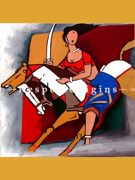 MF Husain Reproduction Painting Woman Fighter on a Horse Acrylic on Canvas Modern Art Painting : 24 x 24 in RespectOrigins