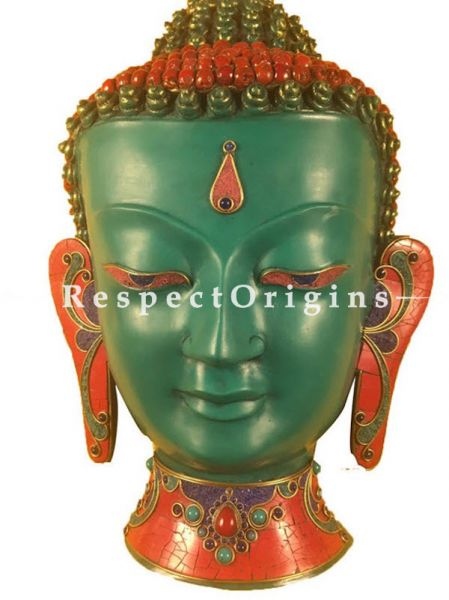 Buy Wall Mask; Wall Art; Handcrafted Lord Buddha; Marble; Green Base and multi color engraved stones Size 11x4x16 in At RespectOrigins.com
