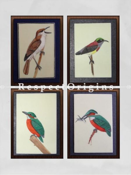 Buy Set of 4 Miniature Bird Paintings On Paper; 10X14 inches; Vertical; Traditional Rajasthani Wall Art at RespectOrigins.com