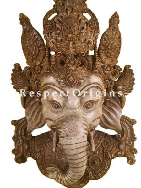 Buy Wall Mask; Wall Art; Handcrafted Beige Lord Ganesha; Marble; Beige; Size 10x5x16 in At RespectOrigins.com