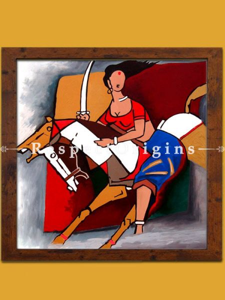 M.F. Husain Reproduction Woman Fighter on a Horse Acrylic on Canvas Modern Art Painting : 24x24 in