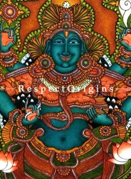 God of Ayurveda; Kerala Mural Art or Painting on canvas; 15x24 in; Chuvarchithram