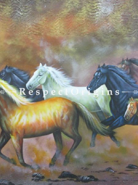 Good Luck Horses; Painting Acrylic Colors On Canvas - 36In x 24In