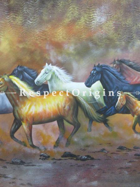 7 Good Luck Horses Rajmer02 Painting Acrylic Colors on Canvas - 36in x 24in |Buy 7 Good Luck Horses Rajmer02 Painting Acrylic Colors on Canvas - 36in x 24in  Online|RespectOrigins