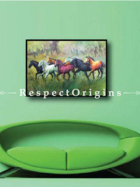 7 Good Luck Horses Rajmer04 Painting Acrylic Colors on Canvas - 36in x 24in |Buy 7 Good Luck Horses Rajmer04 Painting Acrylic Colors on Canvas - 36in x 24in  Online|RespectOrigins