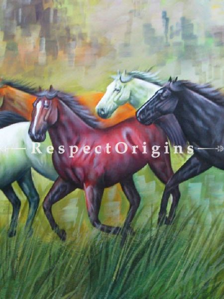 Vaastu Horses; Painting Acrylic Colors On Canvas - 36In x 24In