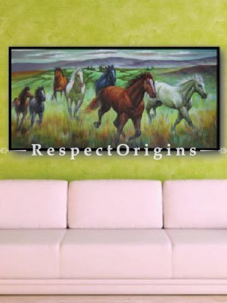 7 Good Luck Horses Rajmer07 Painting Acrylic Colors on Canvas - 48in x 24in |Buy 7 Good Luck Horses Rajmer07 Painting Acrylic Colors on Canvas - 48in x 24in  Online|RespectOrigins