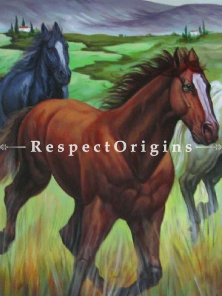 Just Horses; Painting Acrylic Colors On Canvas - 48In x 24In