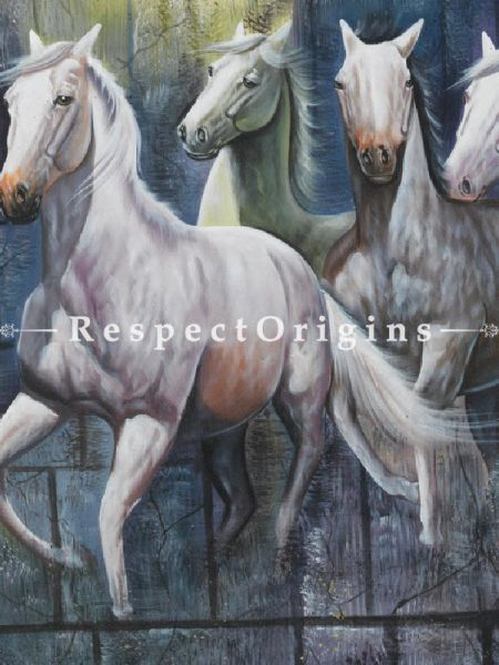 Horses Running - Painting, Acrylic On Canvas - 48In x 35In
