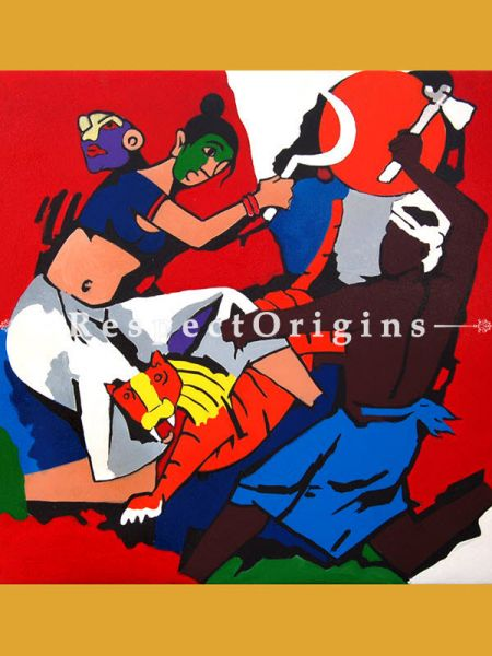 Durga Riding her Tiger; M.F Hussain Reproduction Acrylic on Canvas Modern Art Painting : 24 x 24 inches Respectorigin
