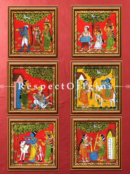 Buy Set of 6 Cheriyal Painting Square Wall Art Hand Painted on Canvas Tribal activities 12x12 inches at RespectOrigins.com