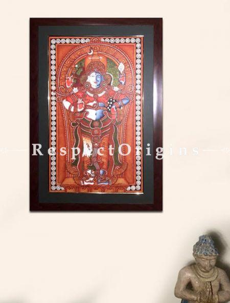 Hari Hara; Shiva & Vishnu; Kerala Mural Art or Painting in 18x29 in; Chuvarchithram