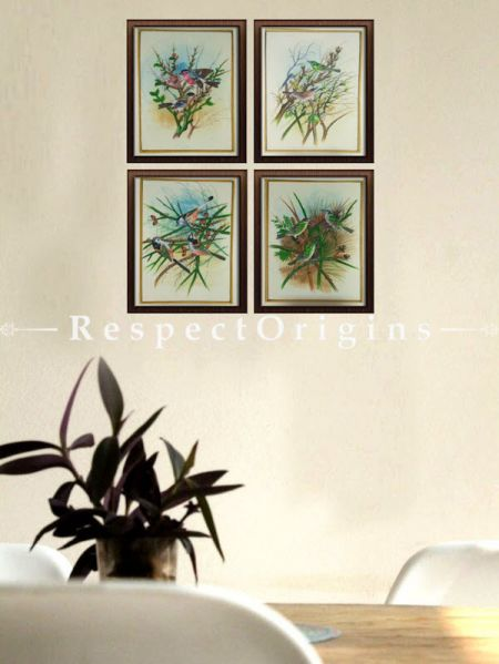 Buy Set of 4 Miniature Bird Paintings On Silk; 10X14 inches ; Vertical; Traditional Rajasthani Wall Arts at RespectOrigins.com