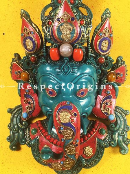 Buy Wall Mask; Wall Art; Handcrafted Colorful Lord Ganesha; Marble; Blue Base with multi color engraved stones Size 10x6x16 in At RespectOrigins.com