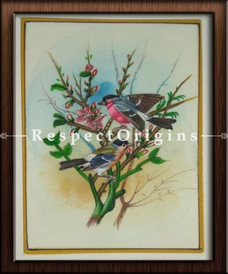 Set of 4 Miniature Bird Paintings On Silk; 10x14 in; Vertical; Traditional Rajasthani Wall Art