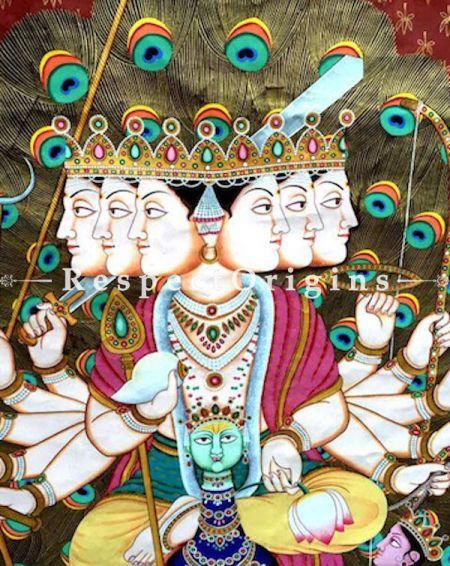 Glorious Rajasthani Pichwai Painting of Lord Murugan; 47x63 in