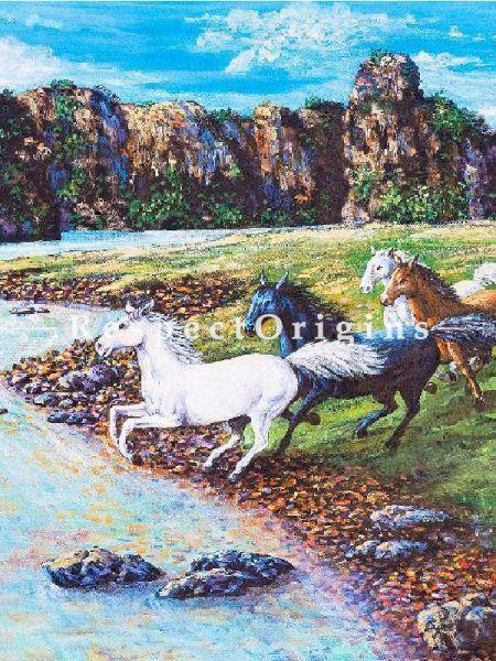 8 Running Horses towards The Stream - Canvas Art Print, Inks on Canvas - 22in x 14in |Buy 8 Running Horses towards The Stream - Canvas Art Print, Inks on Canvas - 22in x 14in  Online|RespectOrigins