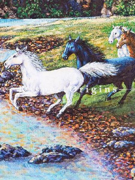 Running Horses towards The Stream - Canvas Art Print, Inks On Canvas - 22In x 14In