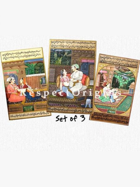Set of 3 Courtly Romance in Miniature Paper Paintings 5x7 Ftches; Vertical; Traditional Rajasthani Wall Art