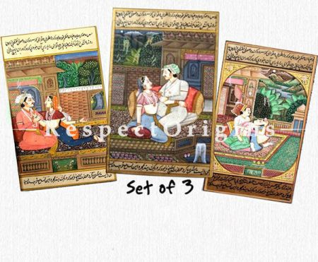 Buy Set of 3 Courtly Romance in Miniature Paper Paintings 5X7 inches ; Vertical; Traditional Rajasthani Wall Art  at RespectOrigins.com
