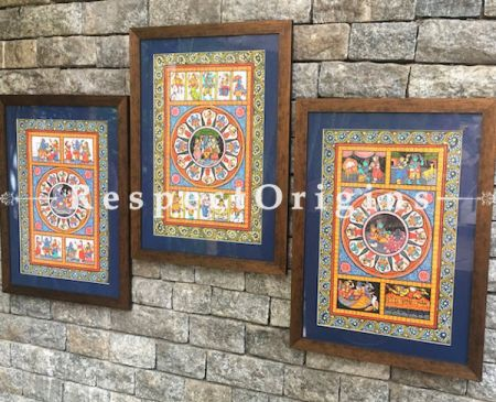 Buy Set of Three Pattachitra Painting of Lord Vishnu With Lakshmi