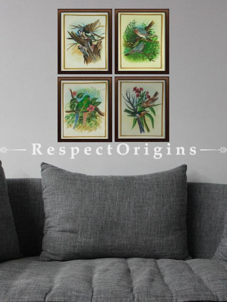 Buy Set of 4 Miniature Bird Paintings On Silk; 10X14 inches;  Vertical; Rajasthani Wall Art at RespectOrigins.com
