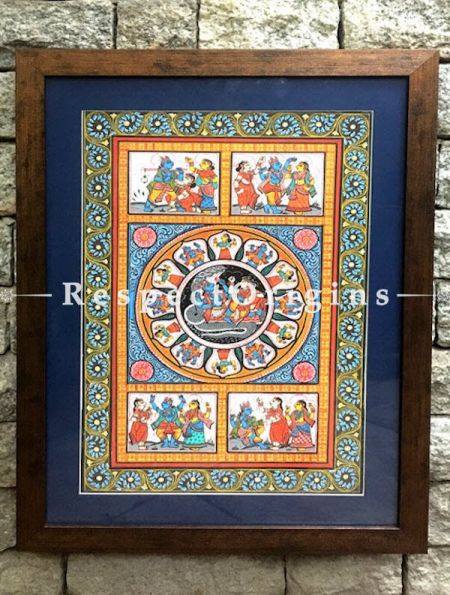 Set of Three Pattachitra Painting On Paper of Lord Vishnu With Lakshmi Resting On SheshNag,Lord Krishna With Gopikas, Lord Ram And Lakshman offeRing Prayers To Shivling 18x12 in