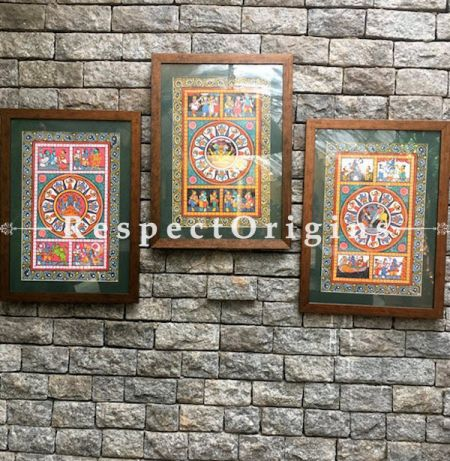 Buy Set of Three Historical Pattachitra Painting of Lord Vishnu, Hanuman or Panchmukhi Anjaneya And Lord Krishna; 18X12 inches Directly From Artisans at best price exclusively at RespectOrigins.com
