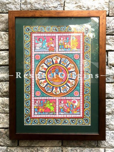 Set of Three Historical Pattachitra Painting On Paper of Lord Vishnu, Five Faced Lord Hanuman or Panchmukhi Anjaneya and Mythological Story of Lord Krishna; 18x12 in