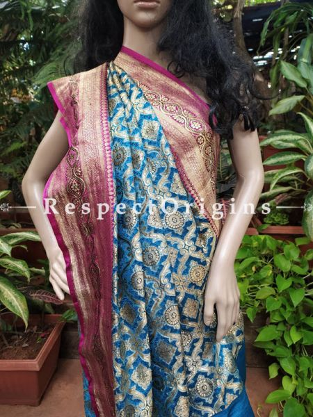 Antique Banarasi Brocade Saree with Border and Pallu. Original Zari.3.8Feet x 8Feet at respect origins.com