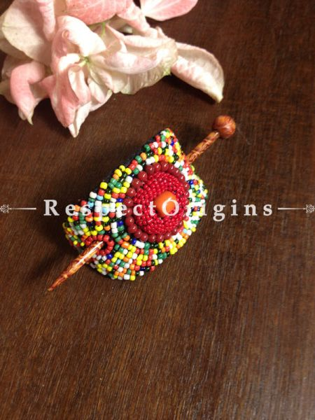 Buy Handmade Red,Yellow & Green Coral Beads Ladakhi Hair Clips At RespectOrigins.com
