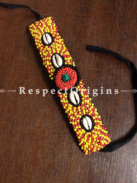 Buy Traditional-Ladakhi-Vintage-Pendant-Red-and-Yellow-Beaded-Neck-Piece-M-50171-67614 At RespectOrigins.com